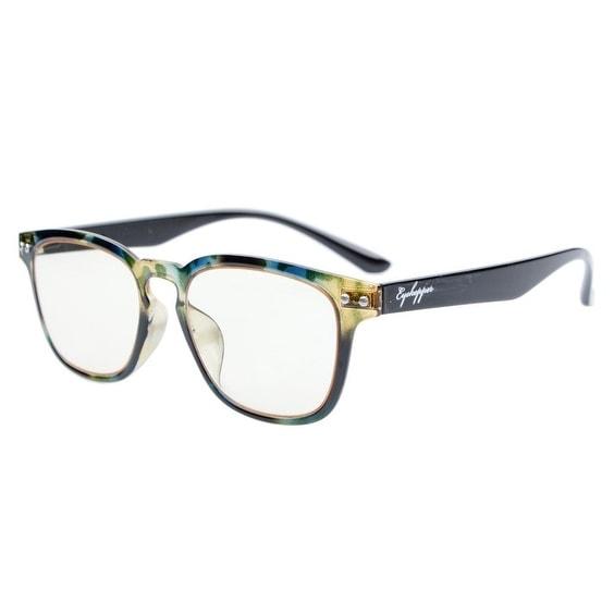 Eyekepper Vintage Flex Lightweight Plastic Frame Yellow Tinted Lenses Glasses Green DEMI+1.5