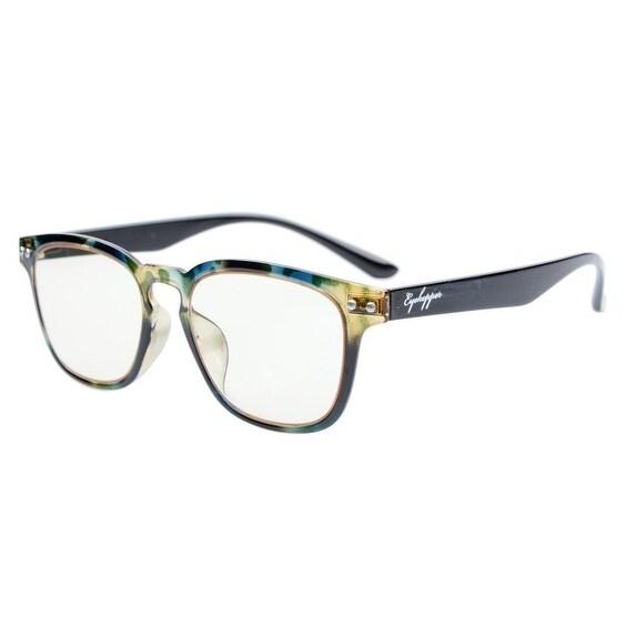 Eyekepper Vintage Flex Lightweight Plastic Frame Yellow Tinted Lenses Glasses Green DEMI+1.75
