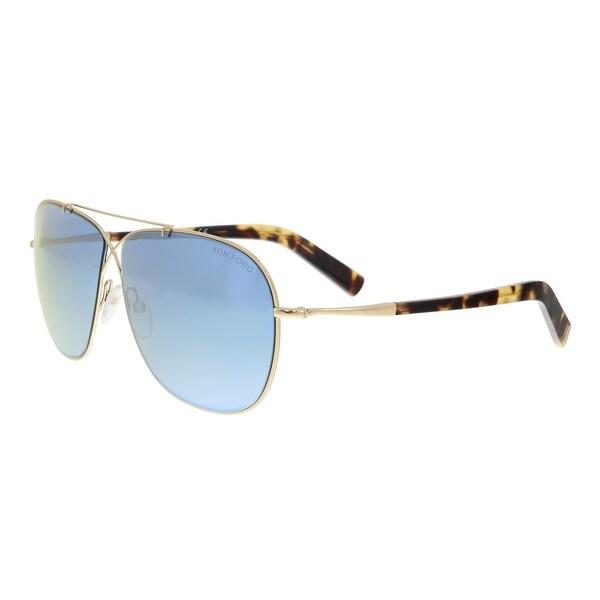 305486644f0 Shop Tom Ford FT0393 S 28X APRIL Gold Havana Aviator Sunglasses - 61 ...