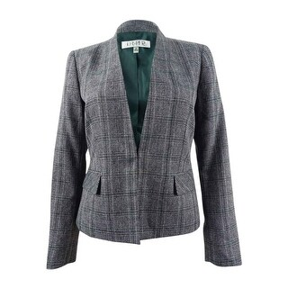 Link to Kasper Women's Stand-Collar Plaid Jacket - Fir Green Multi Similar Items in Suits & Suit Separates