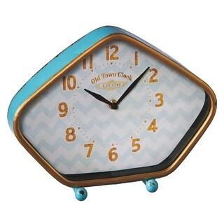 "11.5"" Blue and Golden Colored Small Retro Desk Analog Clock"
