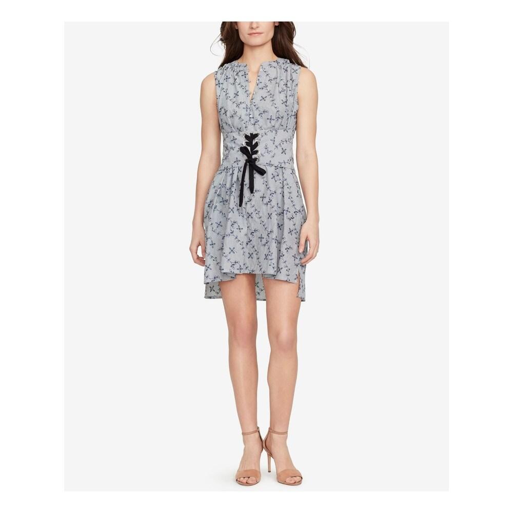 WILLIAM RAST Womens Blue Printed Sleeveless V Neck Mini Dress Size M