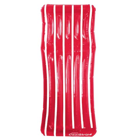 "72"" Inflatable Red and White Transparent Cool Stripe Swimming Pool Mattress Float"