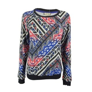 Eyeshadow Juniors' Geo-Print Pullover Sweater - white/dazzling blue