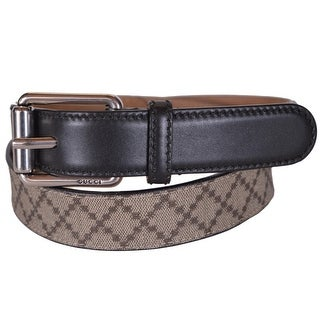 New Gucci Men's 268648 Beige Coated Canvas and Black Leather Diamante Belt 44 110