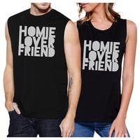 Homie Lover Friend Couples Matching Muscle Tank Tops Black Cotton