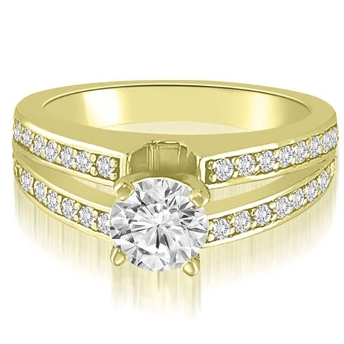 1.00 cttw. 14K Yellow Gold Split-Shank Round Cut Diamond Engagement Ring