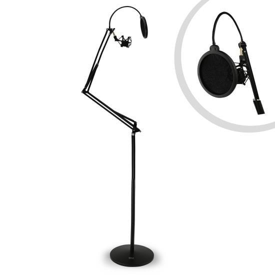 Floor-Standing Suspension Microphone Boom Stand - Studio Scissor Arm Mic Mount, Includes Pop Filter & Anti-Vibration Shock Mount