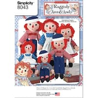 Simplicity Raggedy Ann & Andy Dolls-One Size