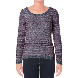Pink Rose Womens Pullover Sweater Striped Boatneck - m