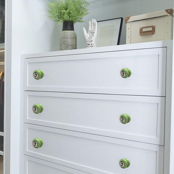 Ceramic Knobs Vintage Round Drawer Pull Handle Cupboard Cabinet Knob 4pcs Green