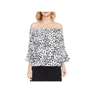 Vince Camuto Womens Blouse Animal Print Pleated Sleeves