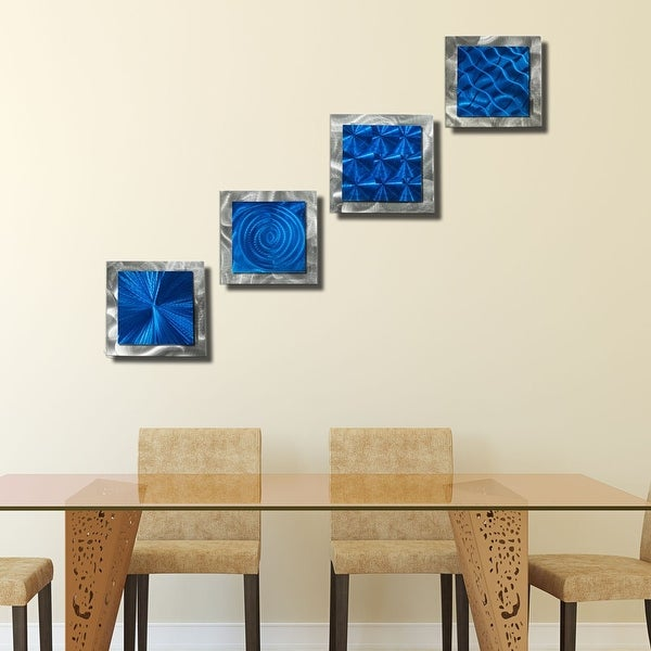 Statements2000 Blue/Silver Metal Wall Art Accent Sculpture by Jon Allen (Set of 4) - 4 Squares Blue