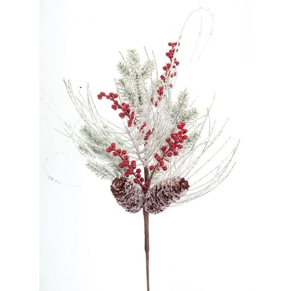 Pack of 6 Snowy White Cedar Artificial Christmas Sprays with Pine Cones and Holly Berries 19""