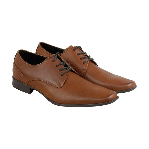 Calvin Klein Bro Emboss Mens Brown Leather Casual Dress Oxfords Shoes