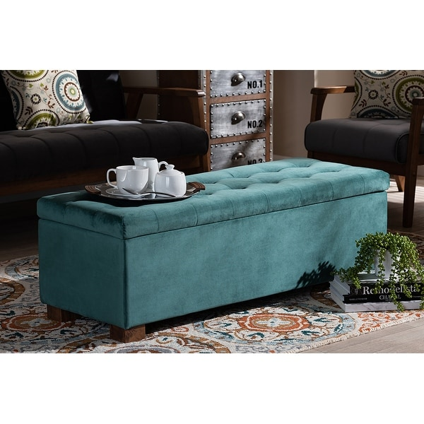 Cooper Teal Blue Velvet Fabric Grid-Tufted Storage Ottoman Bench