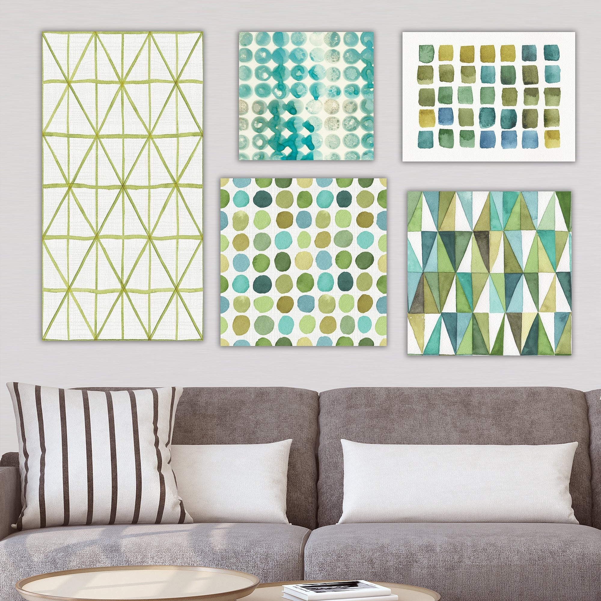 Designart Shades Of Green Collection Abstract Wall Art Set Of 5 Pieces Blue Overstock 26882067