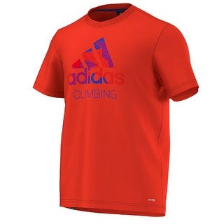 Adidas Outdoor 2016 Men's Edo Logo Linear Everyday Outdoor Short Sleeve Tee Shirt - bold orange