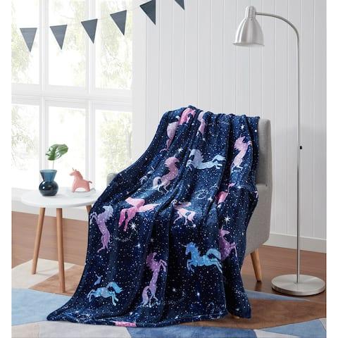 Asher Home Magical Unicorns Plush Throw Blanket