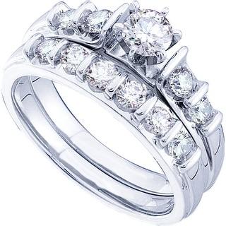 1 Ctw Round Diamond Ladies Fashion Bridal Set With 1/3Ct Round Center White-Gold 14K