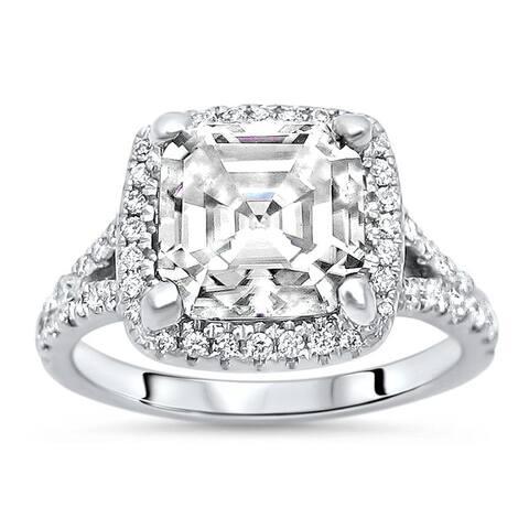 14k White Gold 3ct Asscher Moissanite & 2/5ct Diamond Halo Engagement Ring