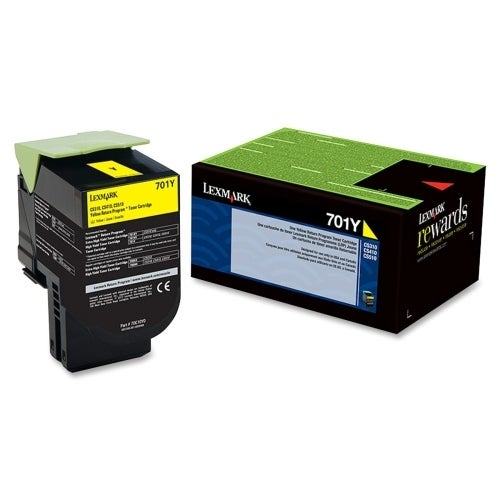 Lexmark 70C10Y0 Lexmark 701Y Yellow Return Program Toner Cartridge - Yellow - Laser - 1000 Page - 1 Each - OEM