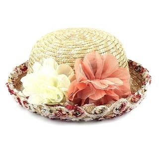 Unique Bargains Women Beach Holiday Flower Roll Up Brim Braided Straw Sun Hat Cap Beige 56cm