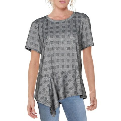 DKNY Womens Top Crewneck Check Print - Gray