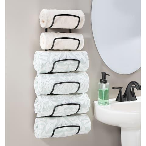 mDesign Metal Wall Mount Bathroom Towel Rack Holder, 6 Levels - 6.9 X 5.6
