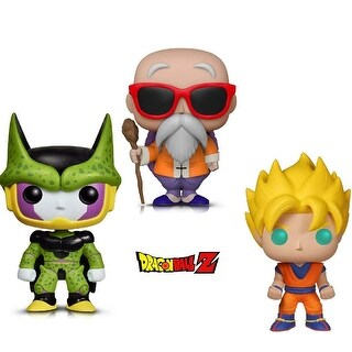 Funko Pop! Animation Dragon Ball Z - Perfect Cell, Super Saiyan Goku and Master Roshi W/ Staff (3 Items)