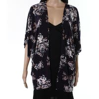 Polly & Esther Womens Medium Cardigan Floral Sweater