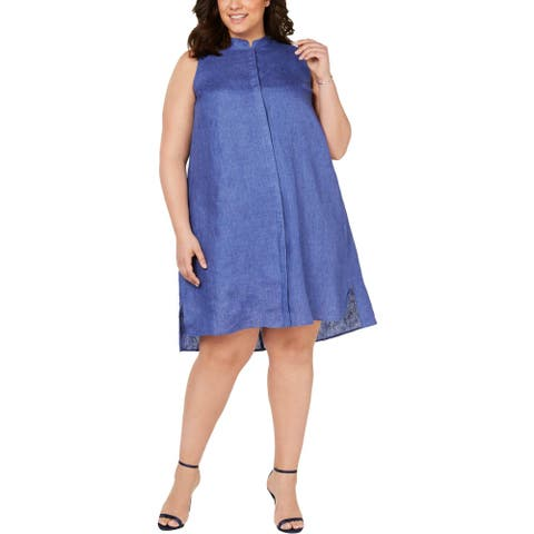Anne Klein Womens Shift Dress Linen Sleeveless - Rainshadow - 3X