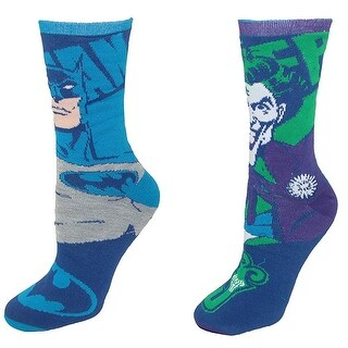 Batman and Joker Reversible Adult Crew Socks - Blue