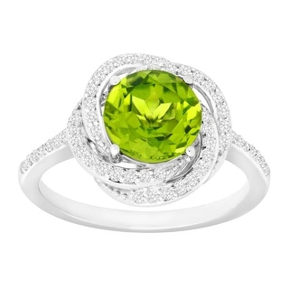 2 3/8 ct Natural Peridot & Created White Sapphire Ring in Sterling Silver - Green