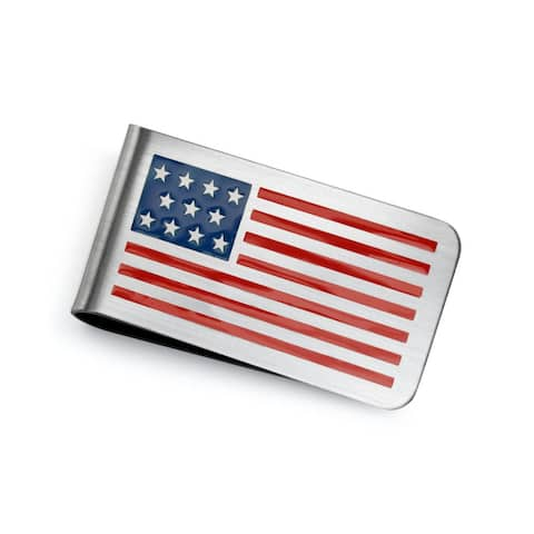 Patriotic USA American Flag Red White Blue Stars Stripes Money Clip For Men Plain Engravable Credit Card Stainless Steel