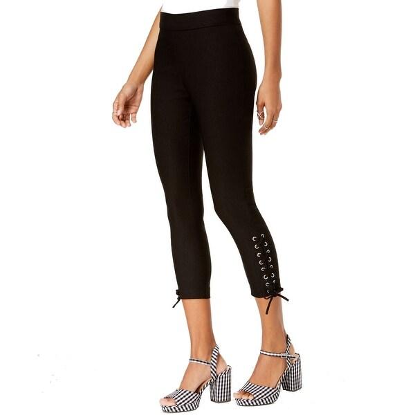 XOXO Black Women's Size 0 Lace-Up Capris Cropped Stretch Pants