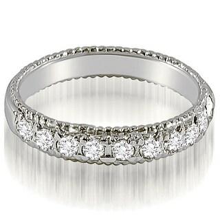 0.55 CT.TW Antique Style Milgrain Round Cut Diamond Wedding Ring - White H-I