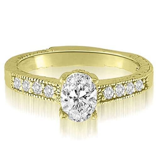 1.20 cttw. 14K Yellow Gold Antique Milgrain Round Cut Diamond Engagement Ring