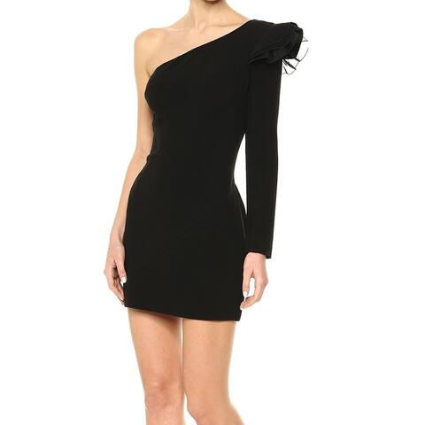 Rachel Zoe Women's Dress Deep Black Size 8 Sheath One Shoulder Mini