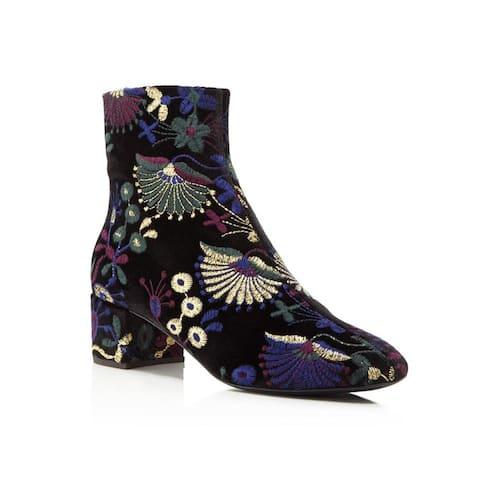 Giuseppe Zanotti Women's Embroidered Velvet Block Heel Booties Black