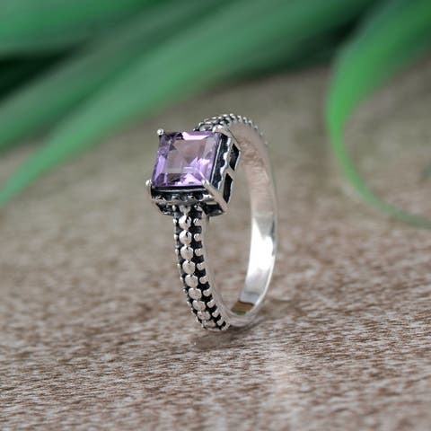 Amethyst, Garnet Sterling Silver Square Solitaire Ring by Orchid Jewelry