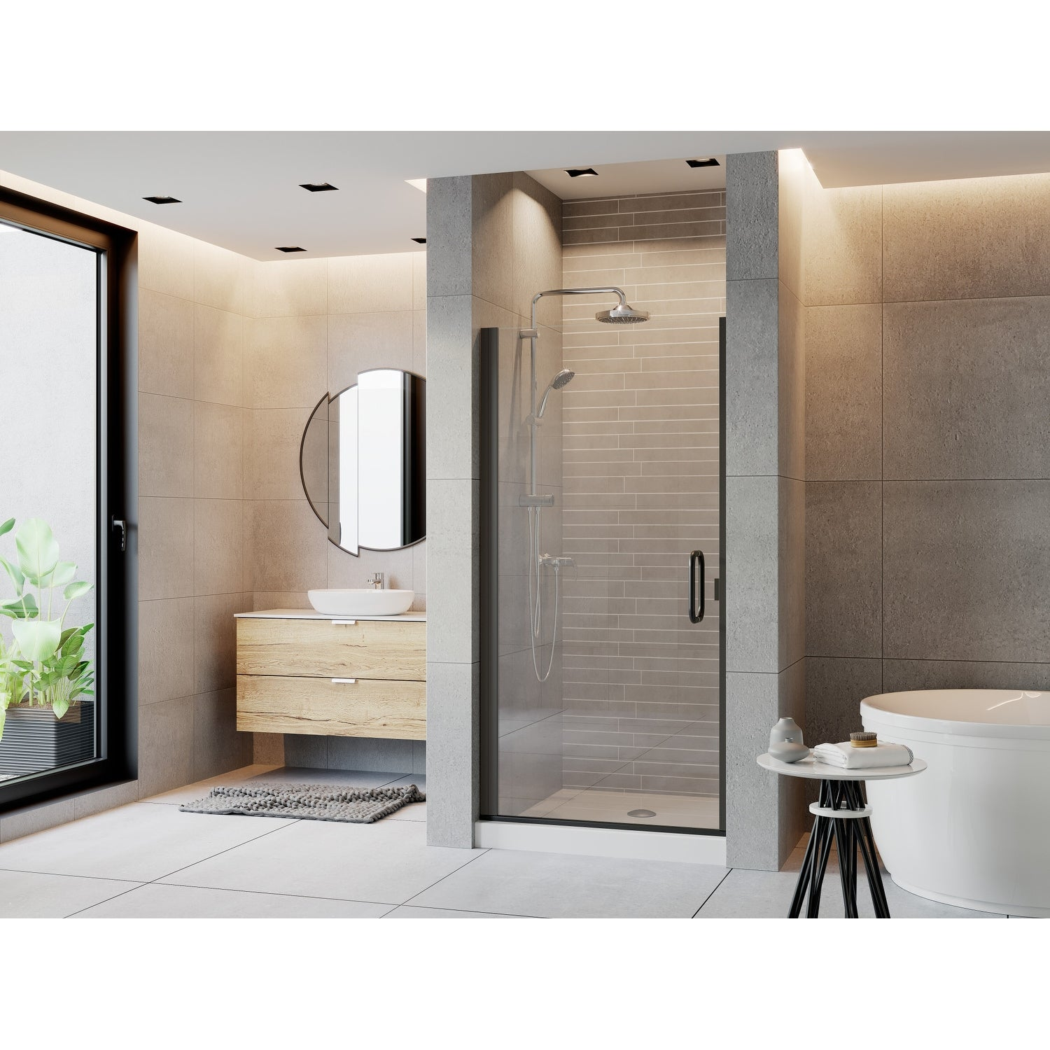Coastal Shower Doors Pcqfr28 75 C Paragon Series 28 X 74 Semi Frameless Continuous Hinge Shower Door And Clear Glass With