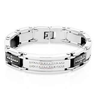 "Double Lined CZ Center with CZ Crosses on Black IP Stainless Steel ID Bracelet - 8.5"" (Sold Ind.)"