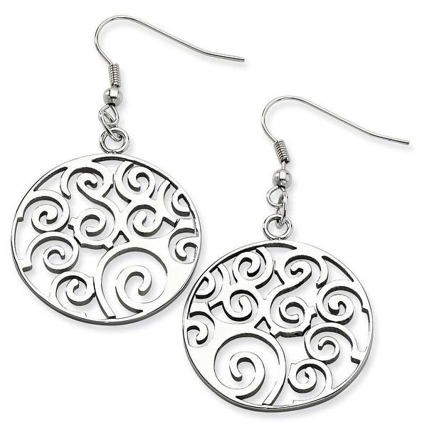 Chisel Stainless Steel Fancy Swirl Dangle Earrings