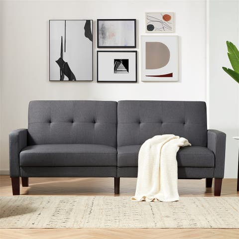 Merax Upholstery Fabric Convertible Sofa Bed with Wood Legs