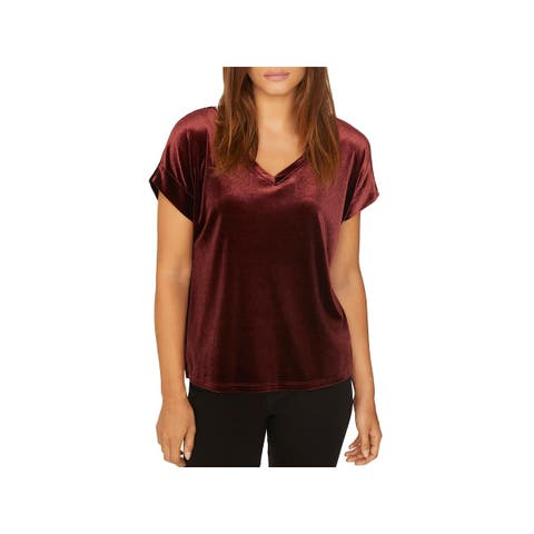 Sanctuary Womens Holly Blouse Velvet V-Neck