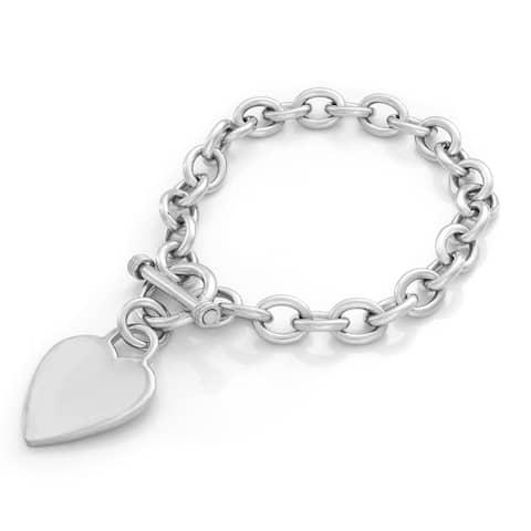 Sterling Silver Heart Toggle Bracelet ( 8 Inch )
