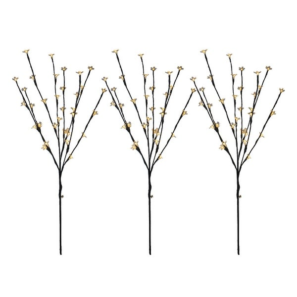 Set of 3 LED Lighted Cherry Blossom Outdoor Artificial Tree Branch 2.5' - Warm White Lights - N/A