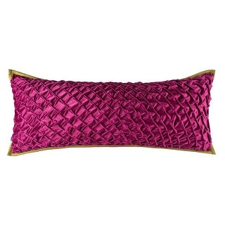 100% Handmade Imported Royal Highness Pillow Cover, Fucshia, Yellow Green Trim