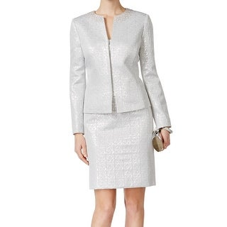 Tahari by ASL NEW Silver Women's Size 6 Embellished Skirt Suit Set